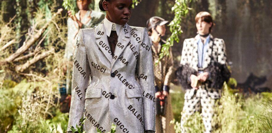 Gucci + Balenciaga: сбруя в перьях марабу